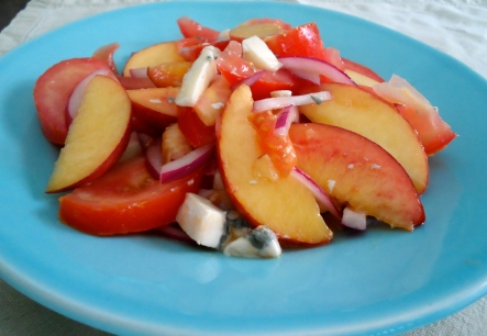 tomato & peach salad with gorgonzola