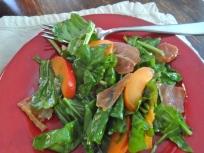 arugula with apricot & crisp prosciutto