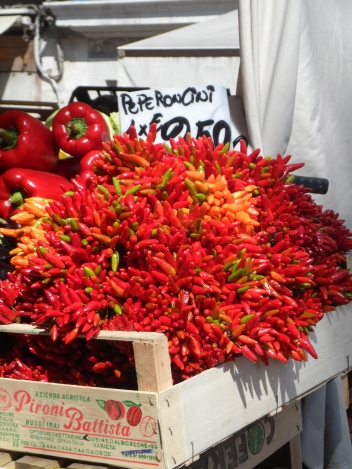 peppers at a market in Venice