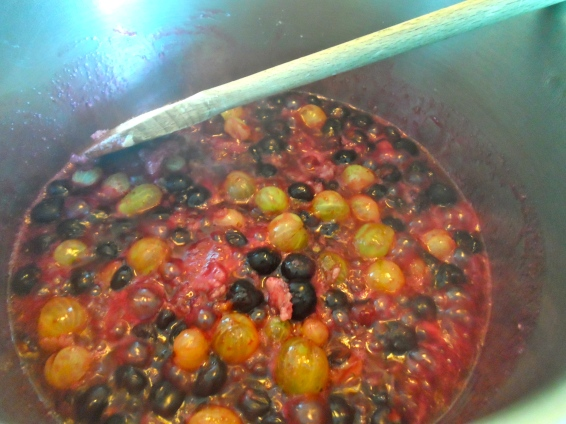 cooking blueberries, gooseberries & sugar