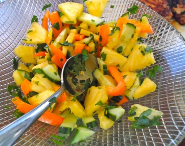pineapple with pepper & cucumber