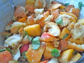fresh peach panzanella