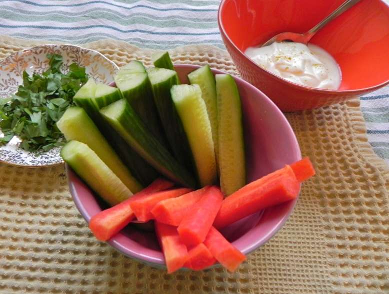 cucumber, carrot, yogurt