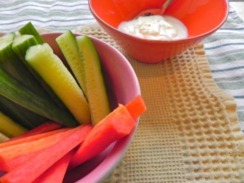 cucumber, carrot, yogurt