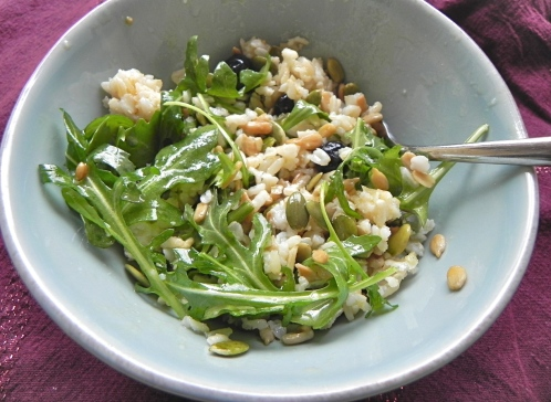 salad with brown rice