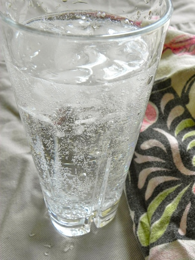 bubbly water with ice