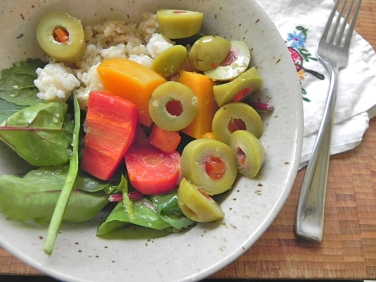 salad with brown rice, roasted veg & sturdy greens