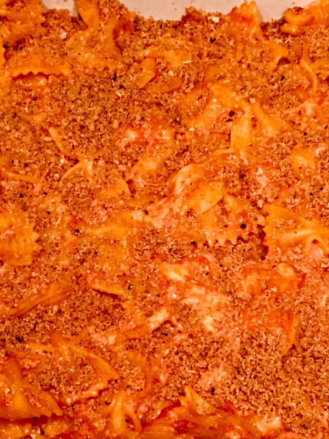 baked pasta with garlic breadcrumbs