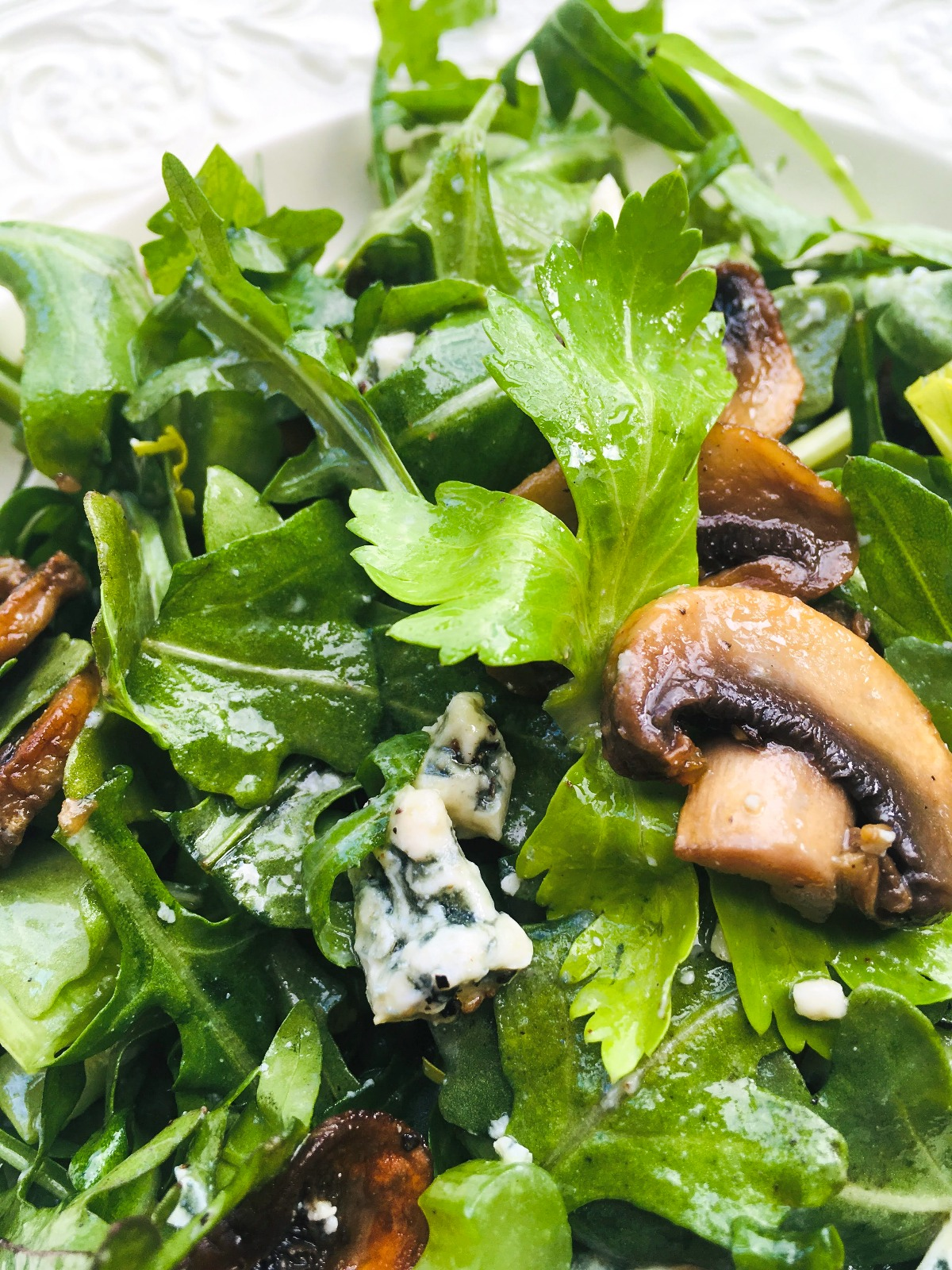 arugula and celery salad with roasted mushrooms and blue cheese