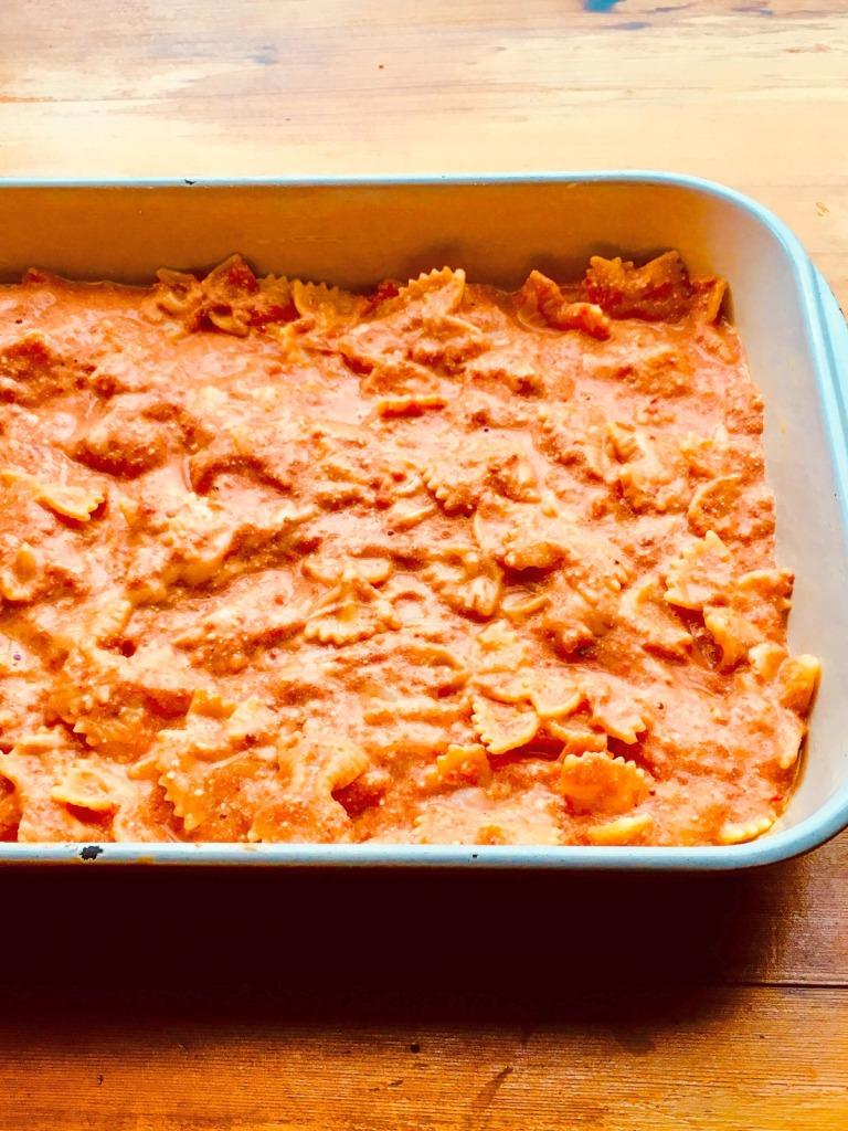 pan of saucy farfalle pasta