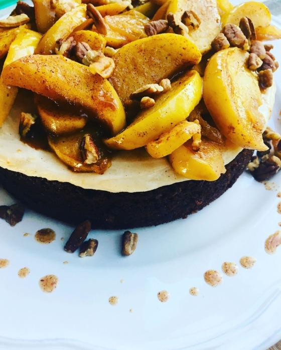 cinnamon apple- and pecan-topped single layer chocolate cake