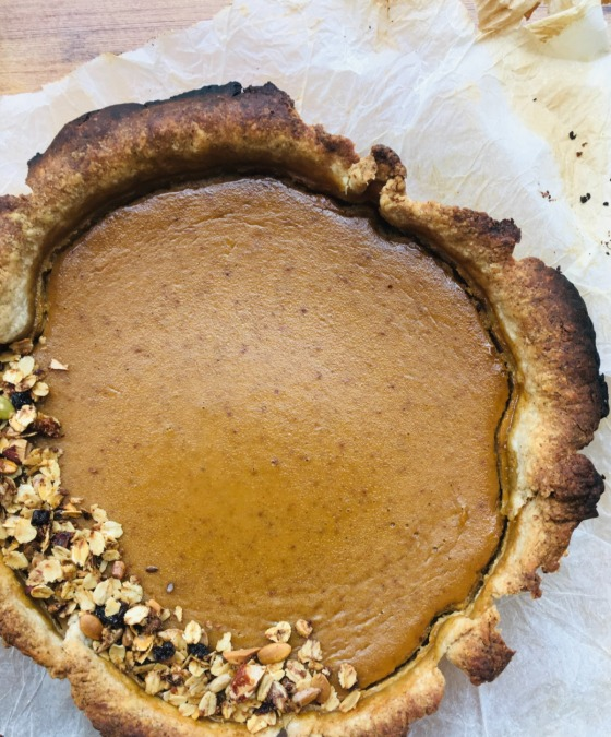 deep rye crust pumpkin pie with granola topping
