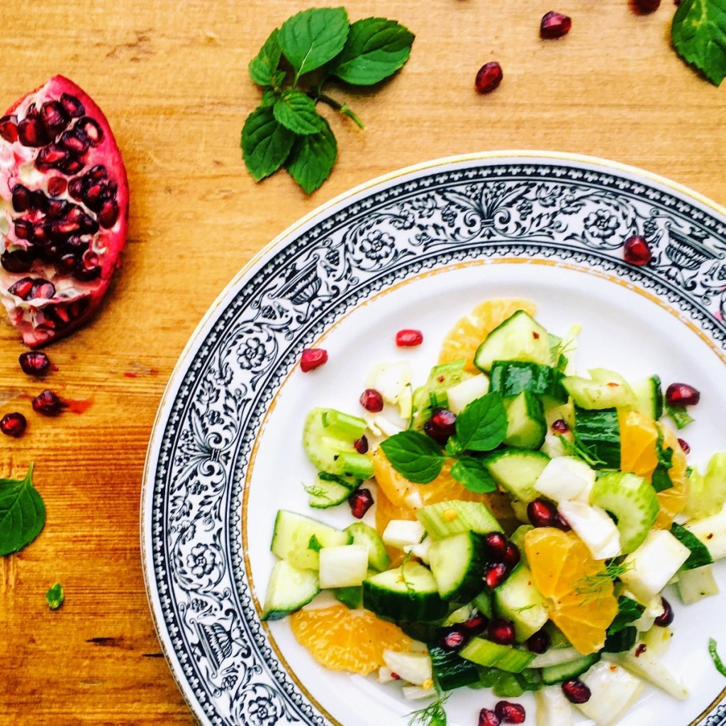 fennel clementine salad with mint and pomegrante