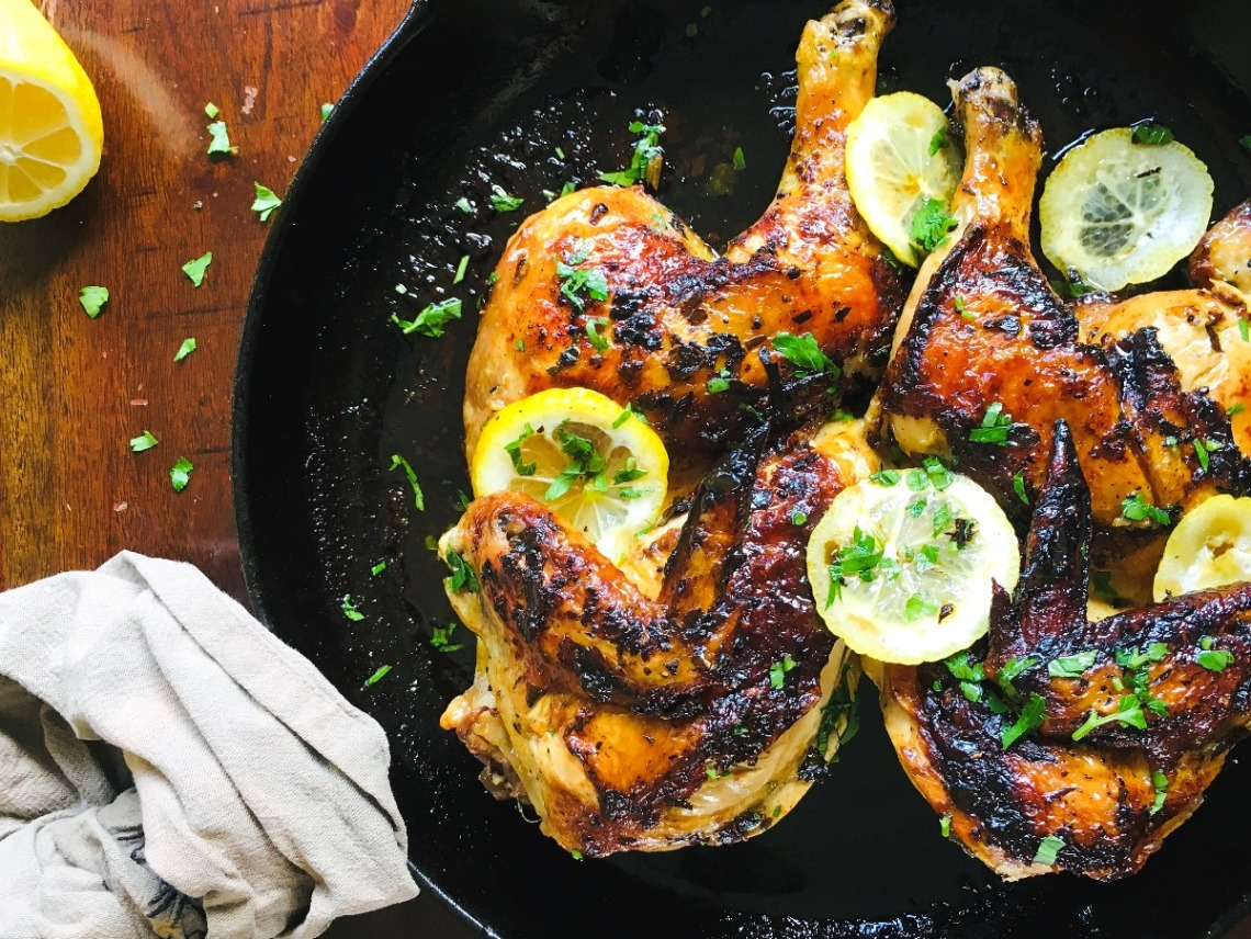 flattened roast chicken with lemon and parsley