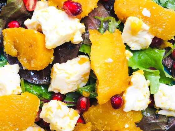 maple curry squash salad with pomegranate and feta