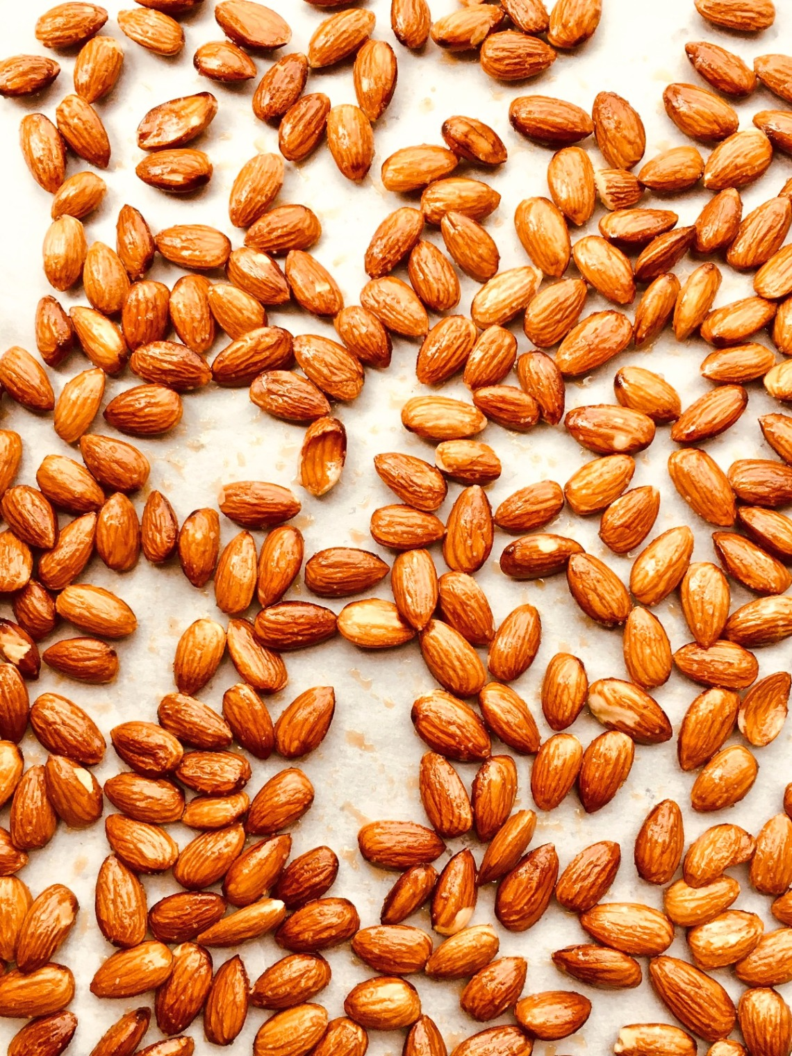 pan of roasted almonds with salt