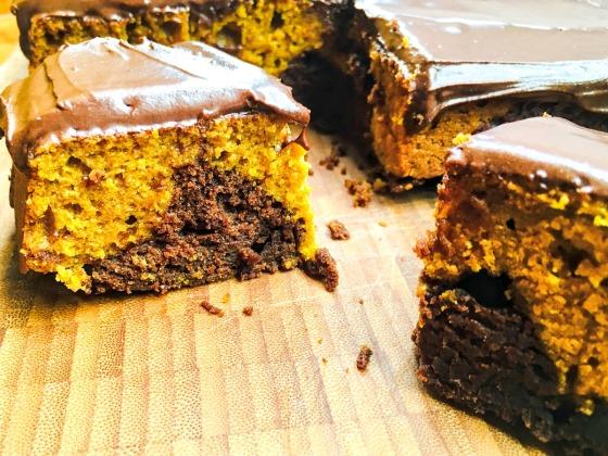 square slices of pumpkin cake
