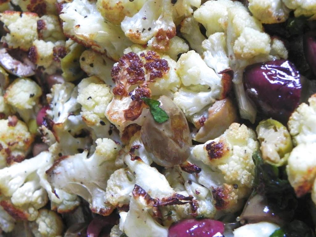 roasted cauliflower and mixed chopped olives